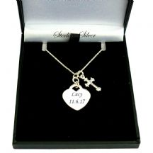 Engraved Sterling Silver Heart Necklace with Tiny Cross